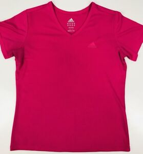 Adidas-Womens-Fitness-Top-Shirt-Small-V-Neck-Pink-Running-Athletic-G