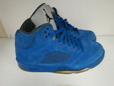 new product 93275 235d9 Nike Air Jordan Retro 5 V Blue Suede Game Royal Black 136027-401 Men s 13