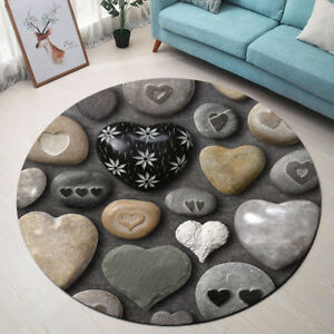 Round-Floor-Mat-Bedroom-Carpet-Non-slip-Area-Rugs-Creative-Heart-Shaped-Stones
