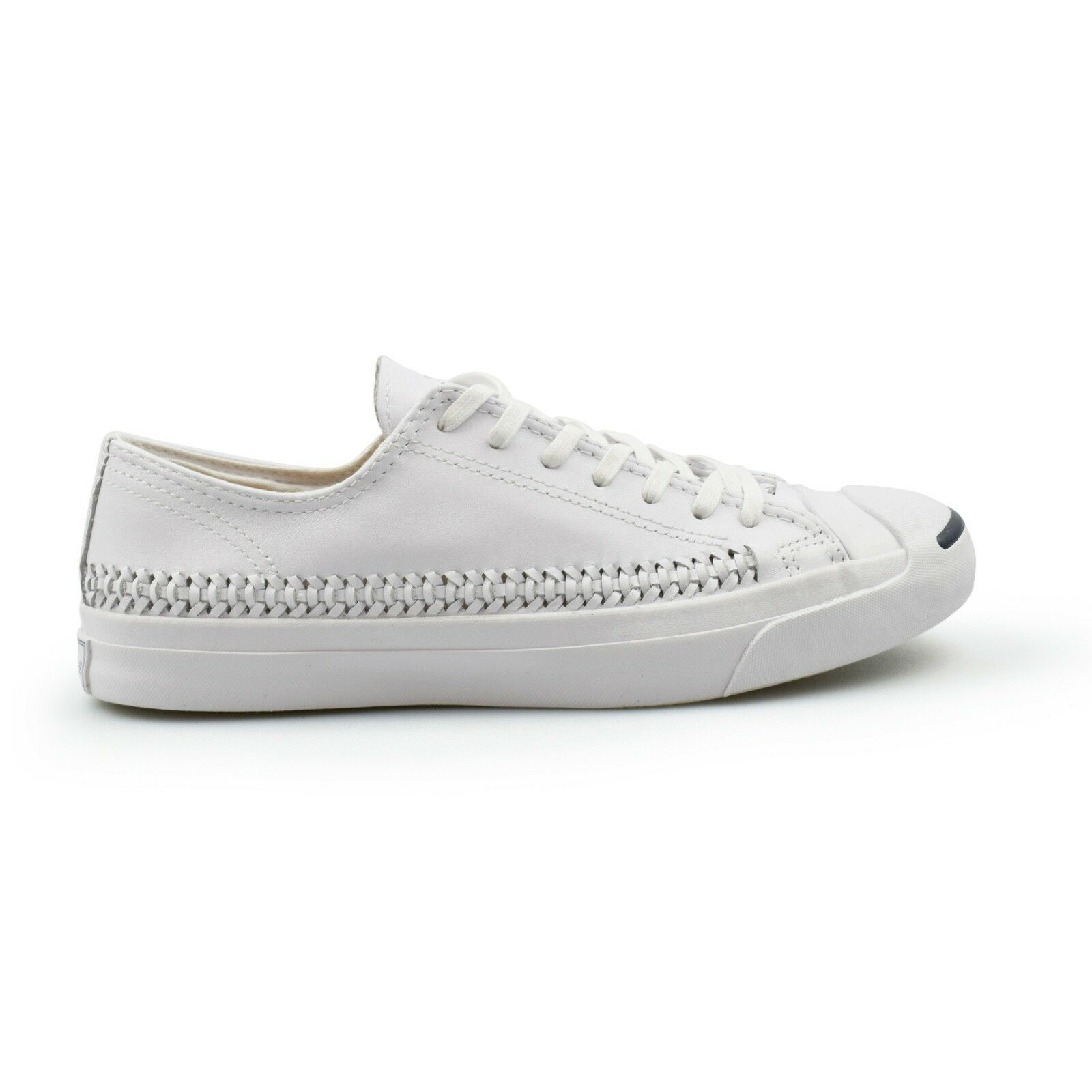 Converse Jack Purcell Woven Leather Triple White Mens Trainers New 147593C