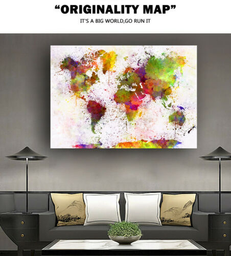 World Map Huge Large Poster Big Thin Canvas Wall Vintage Art Restore Custom A53