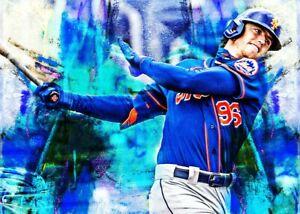 2021 Brett Baty New York Mets 7/25 Art ACEO Sketch Print Card By:Q