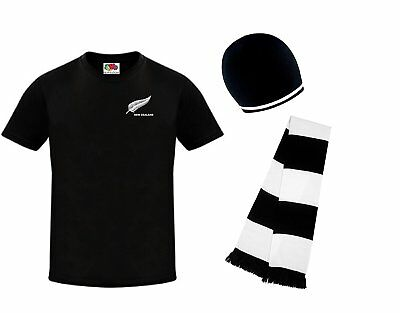 Nation HAT /& SCARF SET New Zealand All Blacks Rugby Scarf Union League Football