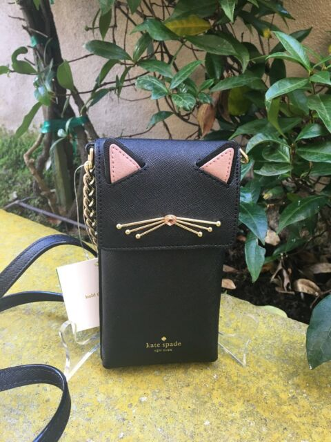 1a6b390fc619 Kate Spade Black Cat Leather North South Phone Wallet Crossbody Bag ...