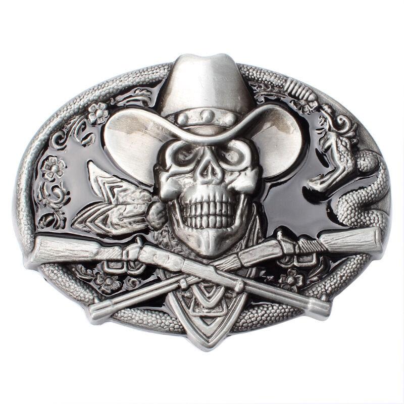 Men's Belt Buckle in Skull Pirates for Native American Cowboy (SK-17)