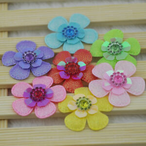 20Pcs-Mixed-Padded-Felt-Acryl-Rhinestone-Flower-Appliques-For-Scrapbook-E162