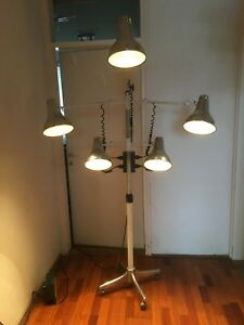 Details About Vintage Lamp Space Age Multi Arm Hair Salon Atomic Medical Rare Floor Industrial
