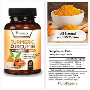 Nature's Nutrition TURMERIC CURCUMIN 1950mg 95% Curcuminoids With Bioperine 60CT