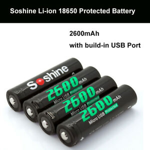 4Pcs-Soshine-18650-100-Li-ion-2600mAh-Protected-Battery-Built-In-Micro-USB-Port