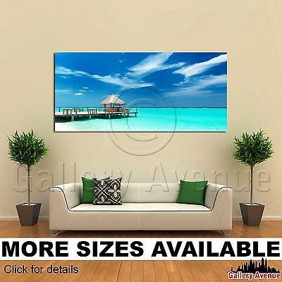 Tropical Beach Bar On The Maldives 2.1 Wall Art Canvas Picture Print