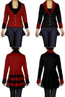 GOTHIC Goth Victorian Vintage Gypsy Lace-Up Ruffled Jacket / Coat BLACK/RED NO35