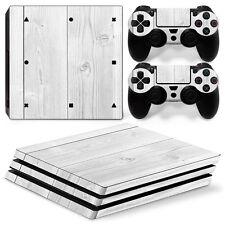 Playstation 4 PS4 Pro Skin Vinyl Design Folie Aufkleber Schutz Sticker HOLZ WEIß