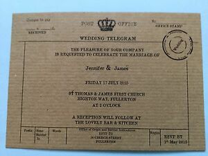 Image Is Loading 25 PERSONALISED VINTAGE TELEGRAM WEDDING INVITATIONS FREE P