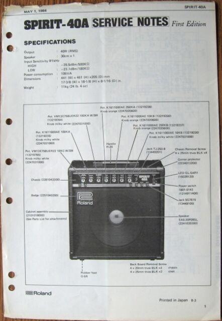 roland spirit 40a guitar amp original service notes manual rh ebay com