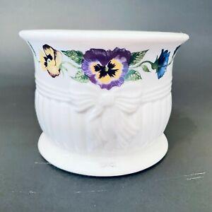 Belleek, Ireland Enchanted Garden porcelain pillar candle holder, pansy design
