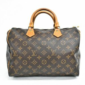 Authentic-Louis-Vuitton-Speedy-30-Monogram-Boston-Satchel-Hand-Bag-Brown-Gold