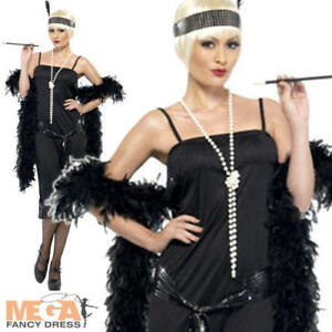 Charleston Black Flapper Dress 20s Fancy Dress 1920s Costume Outfit