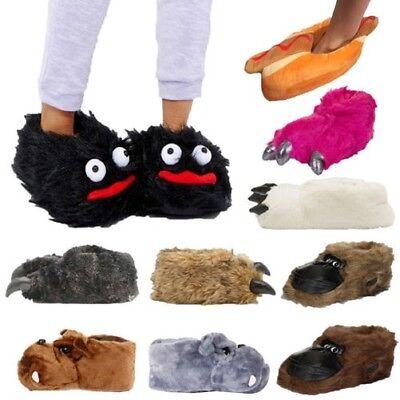 Adulti Morbido 3d Animale Pantofole Uomo Donna Infilare Comodo Novità Interno