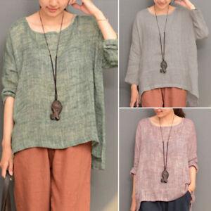 Women-Long-Sleeve-Oversize-Vintage-Casual-Blouse-Tops-Asymmetrical-Shirt