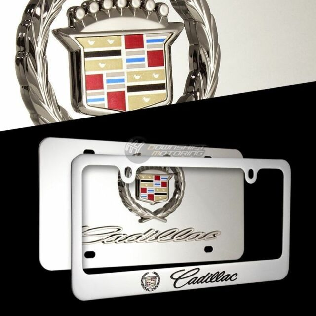 Cadillac Logo Stainless Steel License Plate Frame 2pcs Front Back Authentic