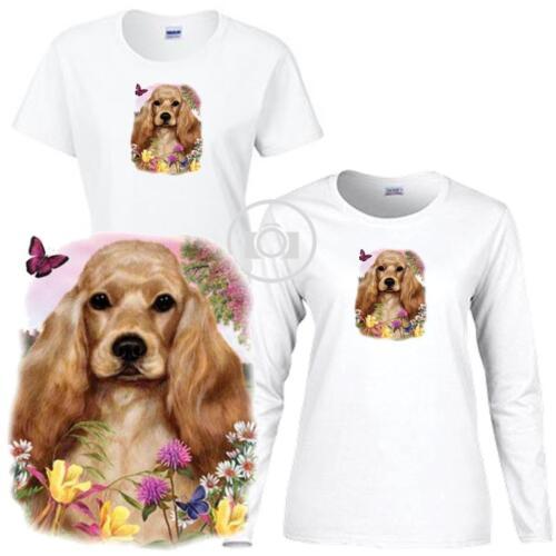 Cocker Spaniel Dog Floral Art Scene Ladies Short Long Sleeve White T Shirt S-3X