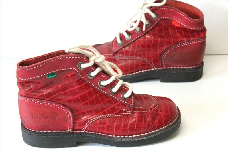 Kickers Stiefel Vintage Lackleder Rot T 36 Seht Guter Zustand