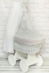 BABY FULL BEDDING SET WITH CANOPY TO FIT WICKER MOSES BASKET CHEVRON GREY