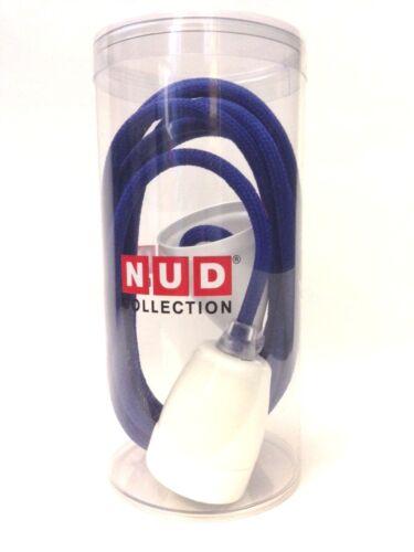 Nud Classic pendule Lampe-porcelaine version Blanc-textile Câble 3m-Bleu