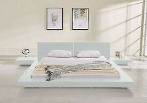 Fujian Modern Platform Bed 2 Night Stands Queen Glossy White By Matisseco Ebay