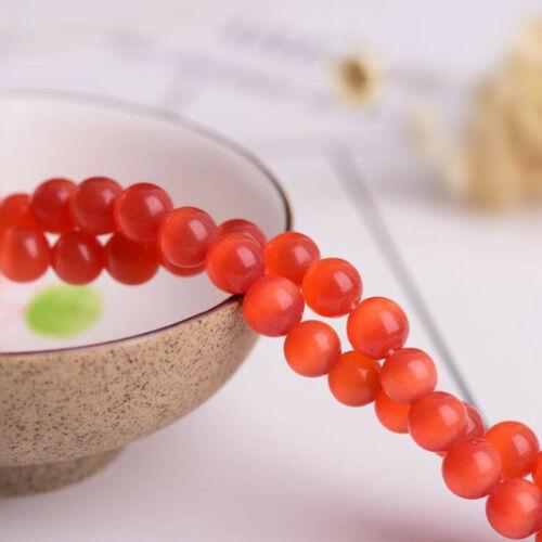 """Natural Red Orange Cat/'s Eye Calcite Selenite Round Beads 15.5/""""Strand 4mm-16mm"""