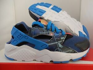 NIKE HUARACHE RUN PRINT (GS) BLUE-GOLD SZ 6.5Y-WOMENS SZ 8 [704943-004]