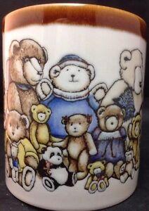 Otagiri-Teddy-Bears-Mug-Coffee-Cup-Heartprint-Japan-Stonewear-Vtg-Brown-White