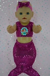 Play-n-Wear-Doll-Clothes-To-Fit-17-034-Baby-Born-HOT-PINK-SEQUIN-MERMAID-HEADBAND