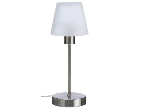 Elegante dimmbare Nachttischlampe TOUCH Nickel mit Glasschirm weiss satiniert