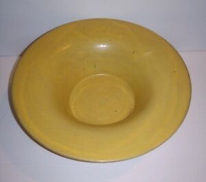 Antique-Matte-Yellow-Pottery-Bowl-Arts-and-Crafts-Fruit-Console-Signed