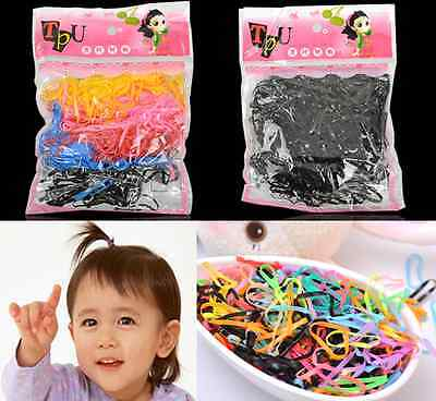 400pcs Hairband Rope Kid Ponytail Holder Rubber Elastic Hair Band Ties Braids hs