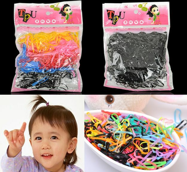 400pcs Hairband Rope Kid Ponytail Holder Rubber Elastic Hair Band Ties Braids hs
