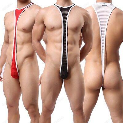 Men's Striped Sheer Gauze Mankini Sexy Nightwear Underwear Leotard Bodysuit M-XL