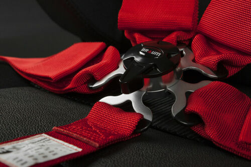 """BRAUM Racing RED 5 Point 3/"""" Inch SFI Certified 16.1 Racing Harness Single New"""