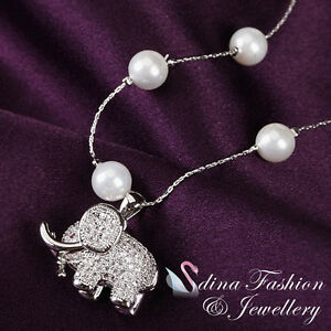 18K-White-Gold-Plated-Simulated-Pearl-amp-Diamond-Stunning-Elephant-Necklace