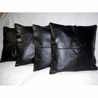 """Genuine Soft Real Lambskin Leather Throw Pillow Cushion Cover Handmade 16x16/"""""""