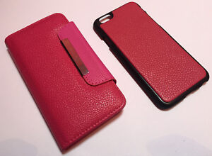 Apple-Iphone-6-6s-4-7-leather-flip-cover-wallet-book-case-magnetic-2-piece-pink