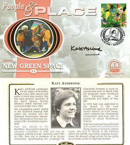 6 JUNE 2000 PEOPLE AND PLACE BENHAM FDC SIGNED BY CAMPAIGNER KATE ASHBROOK