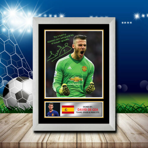 Signed FOOTBALL POSTER PRINT DAVID DE GEA Photo A4 A3 A2 A1 AUTOGRAPH
