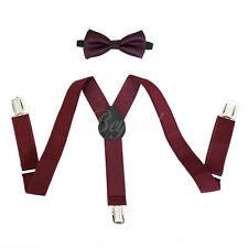 Burgundy bowtie & suspender set for Baby Toddler Kids Boys U.S SELLER