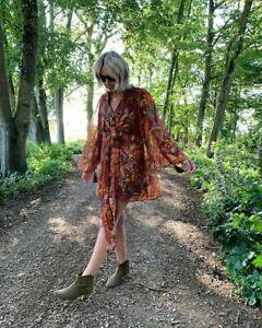 Topshop-IDOL-Floral-Tassel-Floaty-Mini-Dress-Red-UK10-NEW