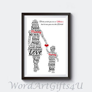 Image Is Loading PERSONALISED Mum Mummy And Son A4 Word Art