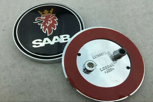 68mm-Auto-hinten-Hood-Emblem-Aufkleber-Abziehbild-Abzeichen-Black-Logo-fuer-SAAB