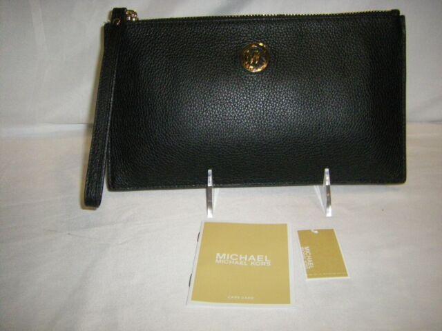 Michael Kors Large Zip Clutch Wristlet Black Pebble Leather FACTORY SEALED