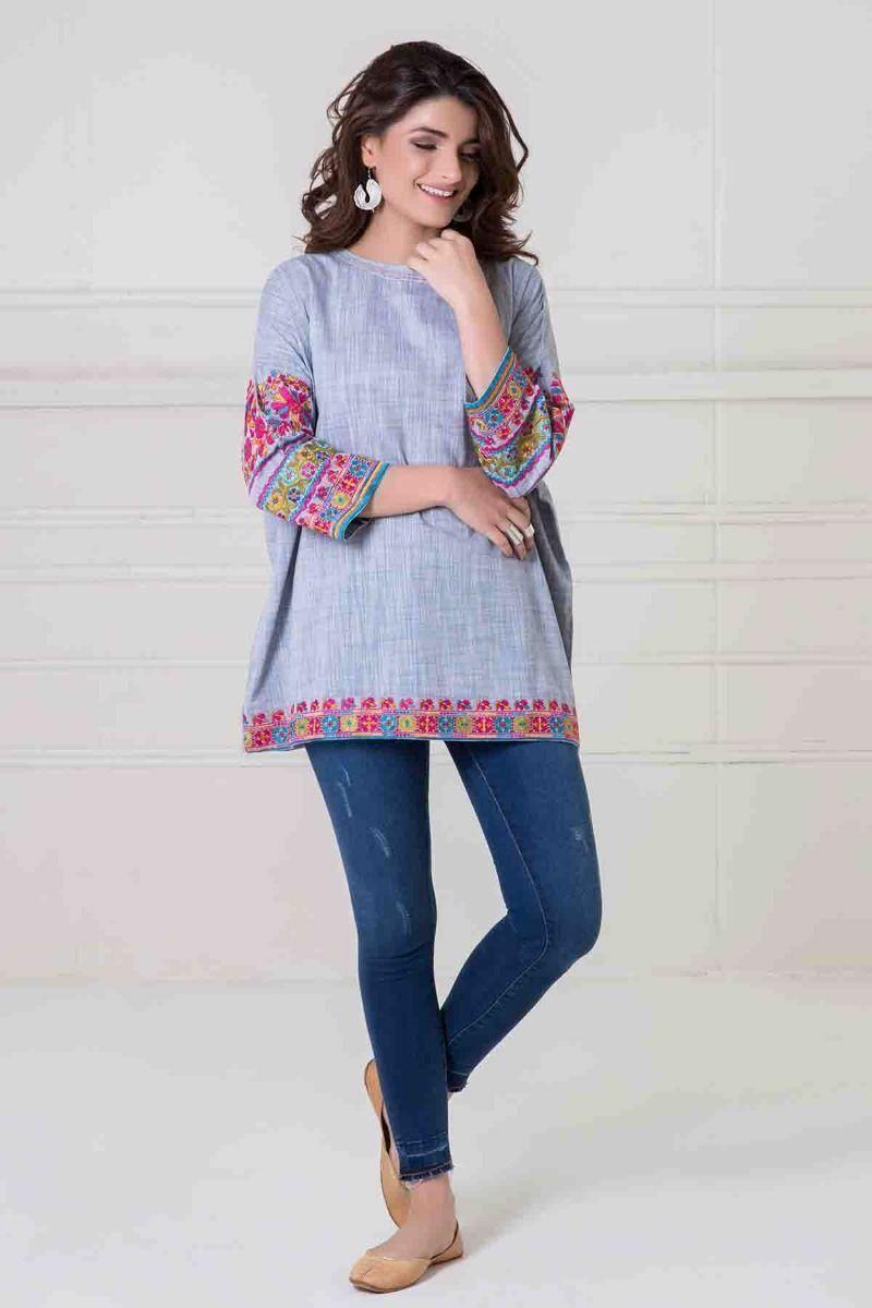 NEW KHAADI damen Tunic Smock Top Floral Embroiderot Dress Ethnic Kurta Sz 8 NEW